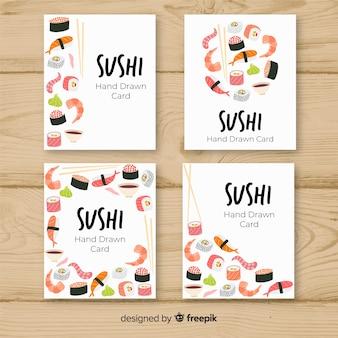 Collezione di carte di sushi