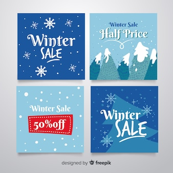 Collezione di carte di vendita invernale
