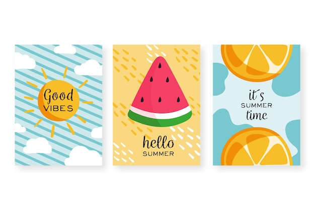Collezione di carte estate disegnati a mano