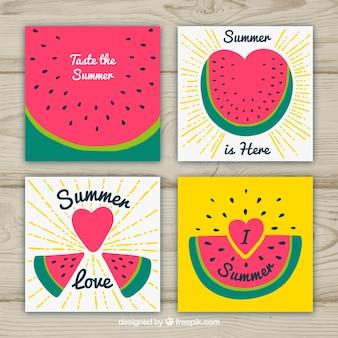 Collezione di carte estive con diversi cocomeri