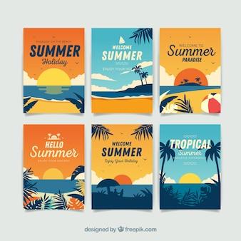 Collezione di carte estive con elementi da spiaggia