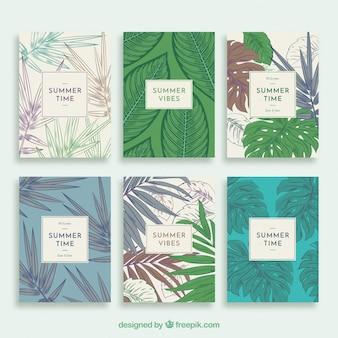 Collezione di carte estive con vegetazione in stile vintage