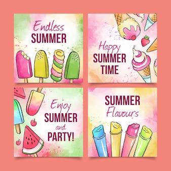 Collezione di carte estive dell'acquerello