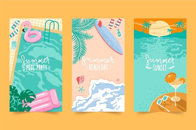 Collezione di carte estive design piatto