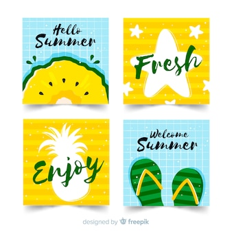 Collezione di carte estive disegnate a mano