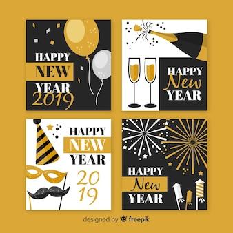 Collezione di carte festa d'oro e argento nuovo anno