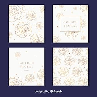 Collezione di carte floreali dorate