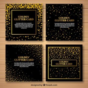 Collezione di carte glitter con colore dorato