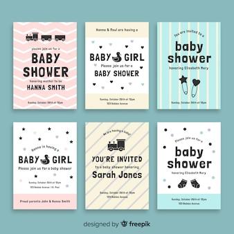 Collezione di carte per baby shower piatte