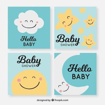 Collezione di carte per bambini con elementi carini
