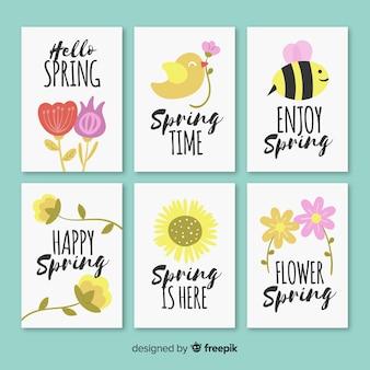 Collezione di carte primavera disegnata a mano