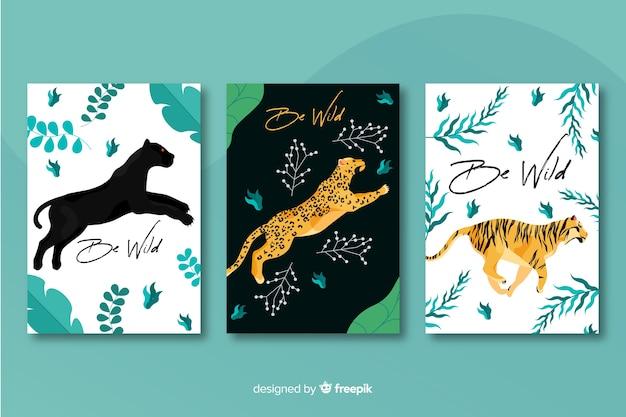 Collezione di carte tigre disegnate a mano