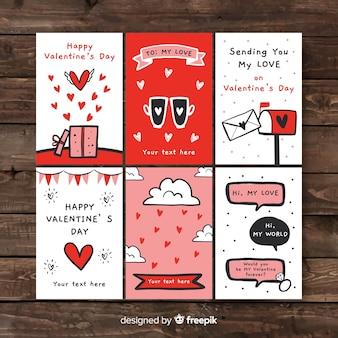 Collezione di carte valentine disegnati a mano