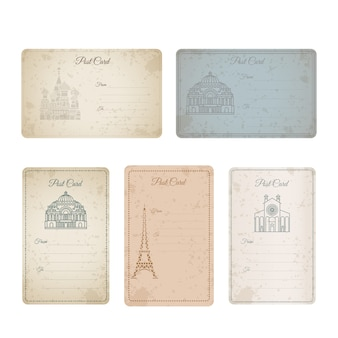 Collezione di carte vintage grunge di cartolina