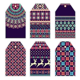 Collezione di cartellini dei prezzi con ornamento maglione