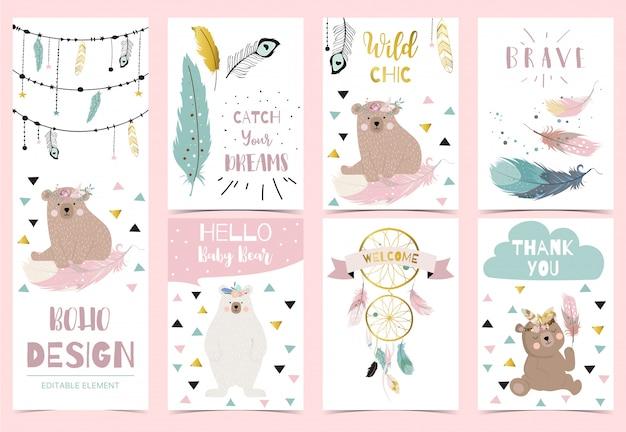 Collezione di cartoline boho con piuma