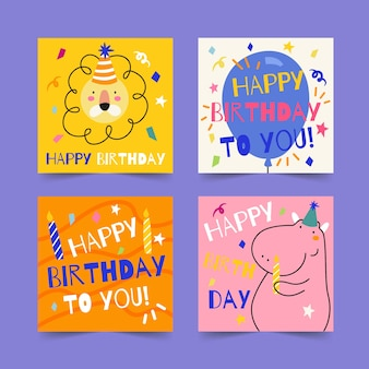 Collezione di cartoline d'auguri di buon compleanno