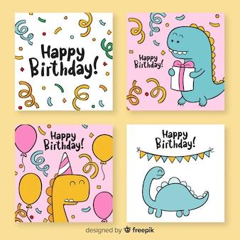 Collezione di cartoline di compleanno divertenti disegnati a mano