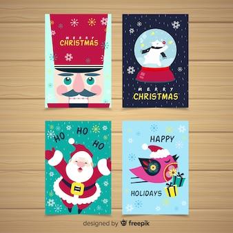 Collezione di cartoline di natale colorate