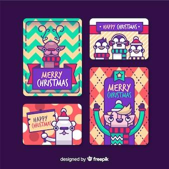 Collezione di cartoline di natale personaggi