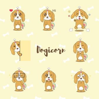 Collezione di cartoni animati cane carino