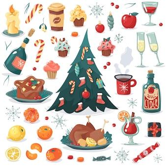 Collezione di cartoni animati chrismas capodanno. un insieme di natale e capodanno cibo e bevande in stile cartone animato e altri oggetti, albero con giocattoli e caramelle. frutta, caramelle, regali, vino, sidro, pasto festivo