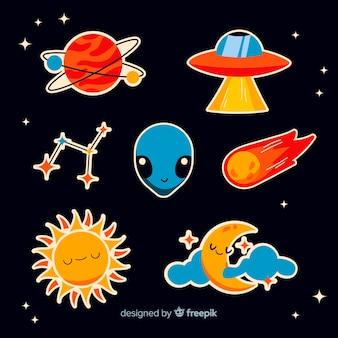 Collezione di cartoni animati con adesivi spaziali