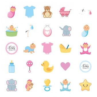 Collezione di cartoni animati per baby shower