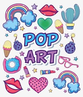 Collezione di cartoni animati pop art