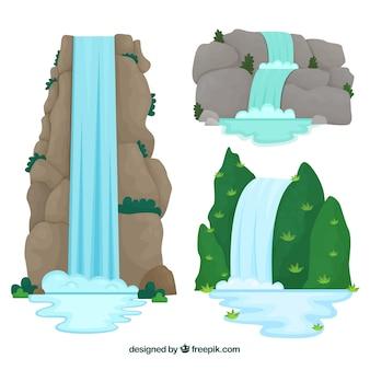 Collezione di cascate in stile cartoon