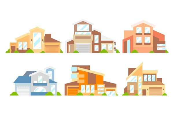 Collezione di case di illustrazioni design piatto