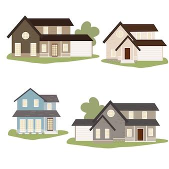 Collezione di case in stile country vittoriano o americano