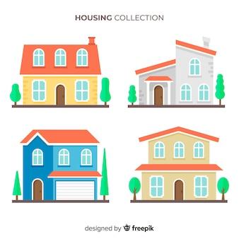 Collezione di case in stile piatto
