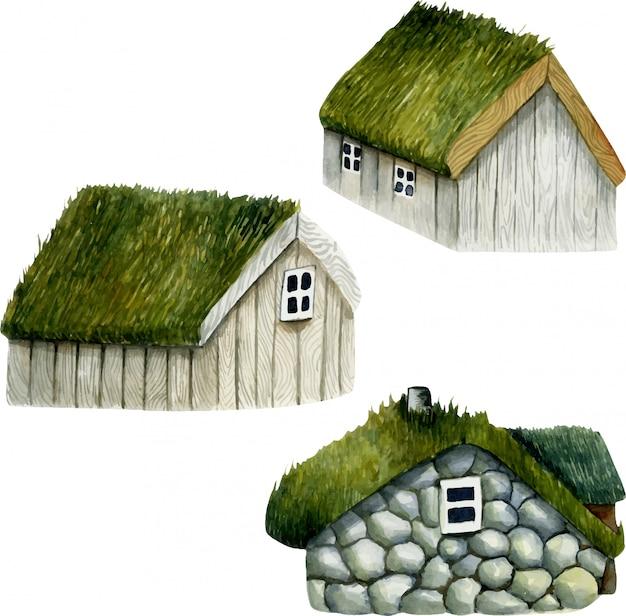 Collezione di case norvegesi dell'acquerello con tetto in erba, case nordiche