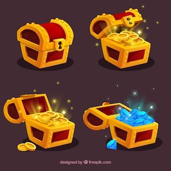 Collezione di casse del tesoro aperte e chiuse con design piatto