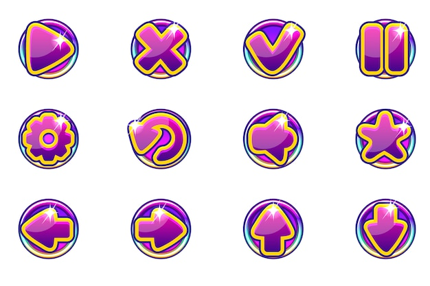 Collezione di cerchi viola imposta pulsanti di vetro per l'interfaccia utente