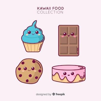Collezione di cibo dolce adorabile disegnato a mano