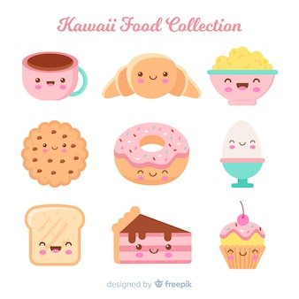 Collezione di cibo dolce disegnata a mano kawaii