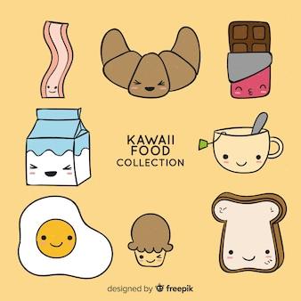 Collezione di cibo per la colazione kawaii disegnata a mano