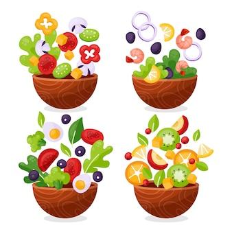 Collezione di ciotole per frutta e insalata