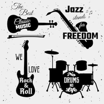 Collezione di citazioni di musica in bianco e nero