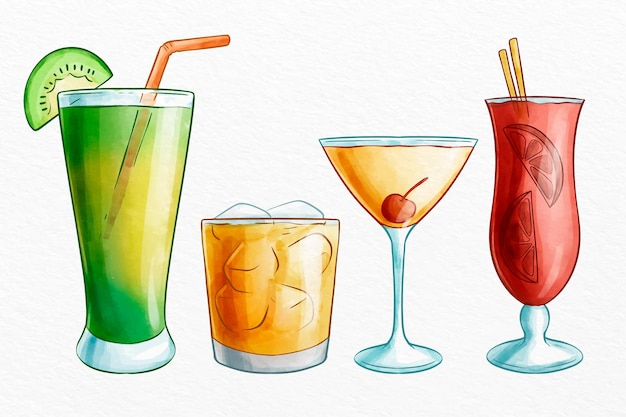 Collezione di cocktail ad acquerello