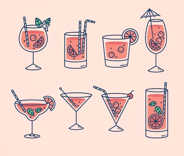 Collezione di cocktail, bevande estive alcoliche e analcoliche con cubetti di ghiaccio di limone, lime e menta.