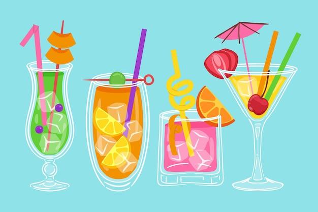 Collezione di cocktail disegnata