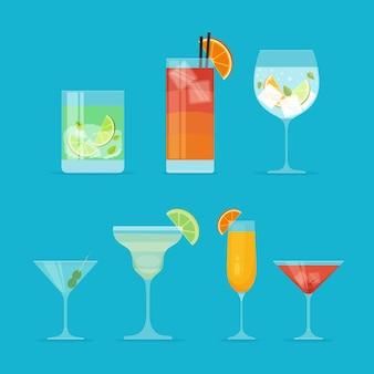 Collezione di cocktail piatti