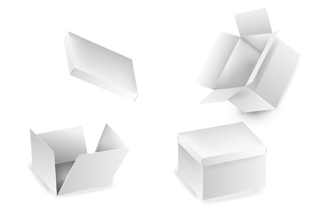 Collezione di collezioni di scatole aperte. insieme delle scatole di cartone bianche del regalo isolate su fondo bianco. un set di scatole da imballaggio isolate. scatola di cartone realistica, contenitore, imballaggio.