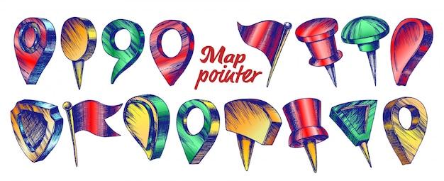 Collezione di colori di diversi set di puntatori mappa