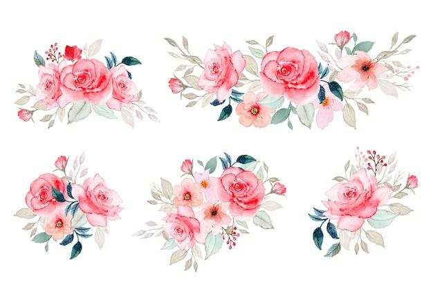 Collezione di composizioni floreali ad acquerello