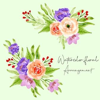 Collezione di composizioni floreali dell'acquerello