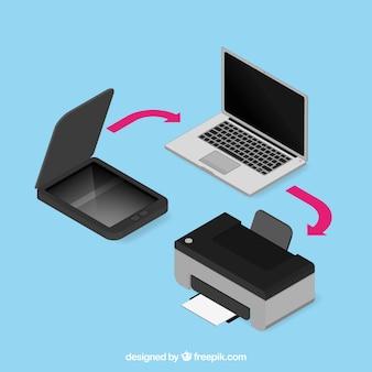 Collezione di computer portatile e stampante